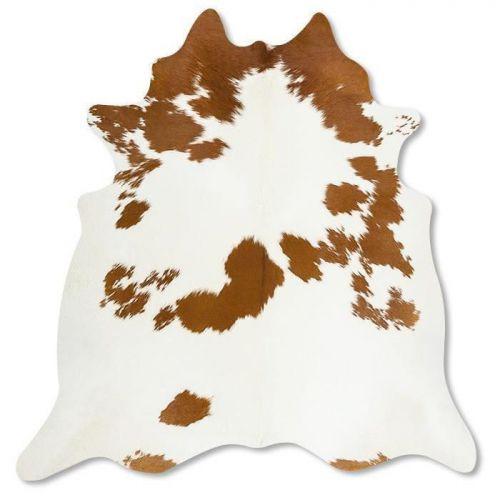 Pele em formato natural - Malhado Caramelo e Branco predominante Branco