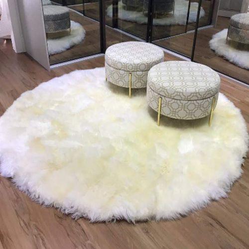 Tapete de pele de ovelha redondo branco